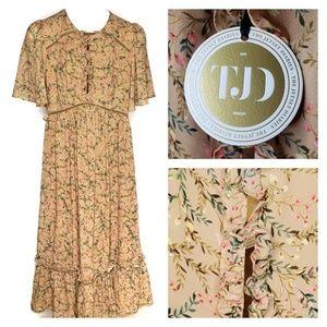NWT TJD x Revolve Floral Midi Dress Ruffle